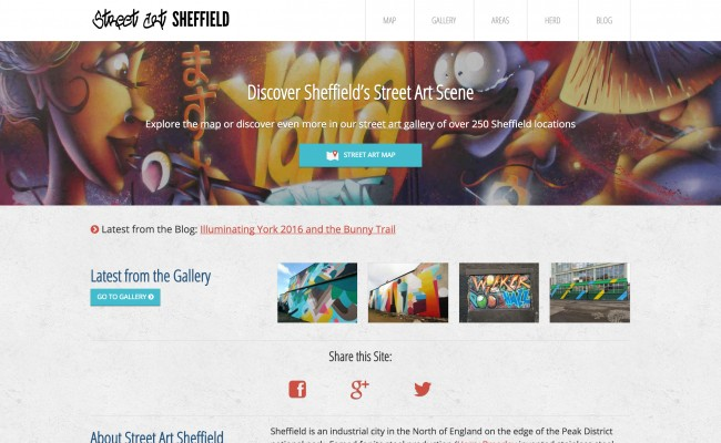 Street Art Sheffield homepage screenshot