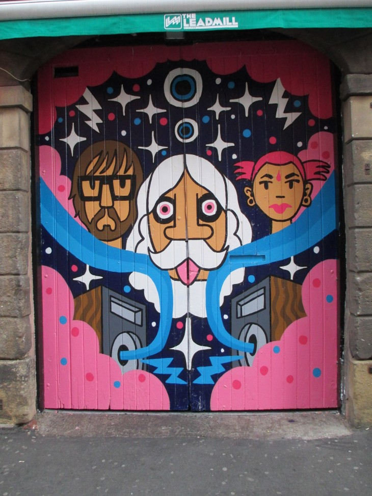 Pete Fowler artwork & Pete Fowler artwork on the Leadmill doors | Street Art Sheffield