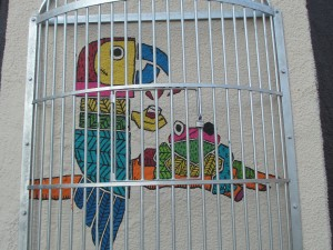 Caged Frog and Parrot wall mural