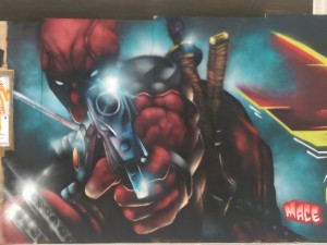 Deadpool street art by Mace