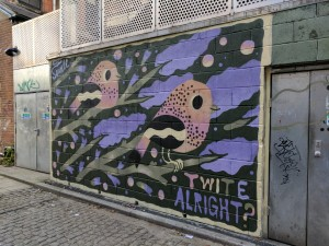 Wall mural of two Twite birds by Matt Sewell
