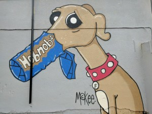 Pete McKee wall mural of dog Frank