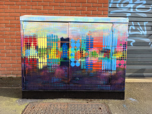 Painted street utility cabinet