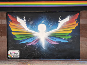 Pride colour wings painted in Sheffield's Gay Quarter