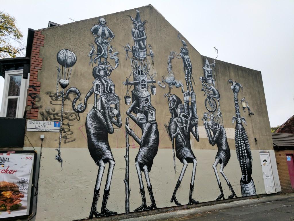 phlegm 39 s feature walls street art sheffield. Black Bedroom Furniture Sets. Home Design Ideas